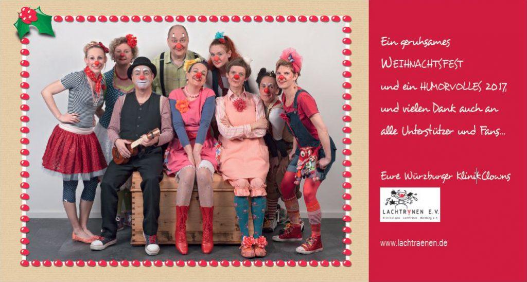 Die Klinikclowns wünschen ein geruhsames Weihnachtsfest und ein humorvolles 2017 und vielen Dank auch an alle Unterstützer und Fans ...