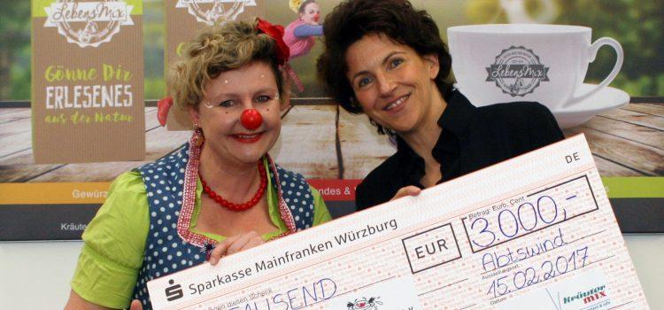 Firma Kräuter Mix spendet 3000.- EURO an die Klinikclowns Lachtränen Würzburg e.V.
