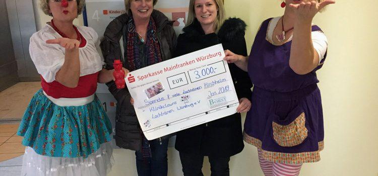 Natursteinwerk Borst aus Kirchheim spendet 3.000 Euro an die Klinikclowns Lachtränen Würzburg