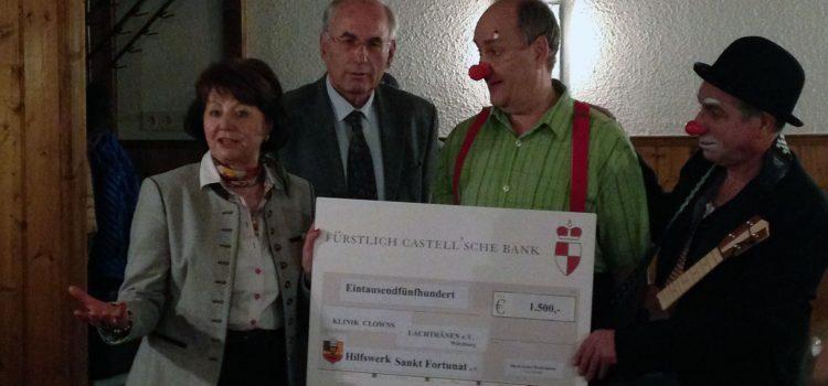 Grosse Freude bei den Klinikclowns Würzburg über Spendenscheck von 1.500 Euro des Ordens Sankt Fortunat e.V.