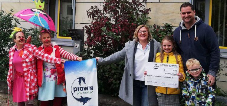 proWIN spendet 500 Euro an die Klinikclowns Würzburg